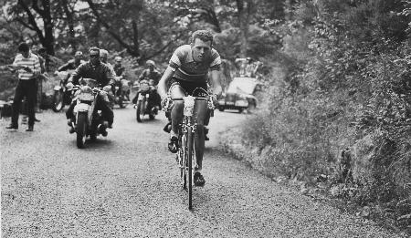 Michel Stolker tijdens zijn solorit in de Tour de France